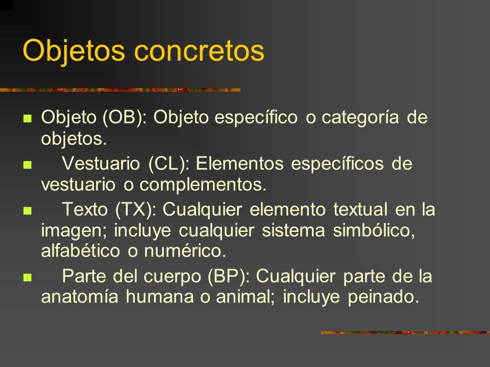 Objetos concretos Objeto (OB): Objeto específico o categoría de objetos.