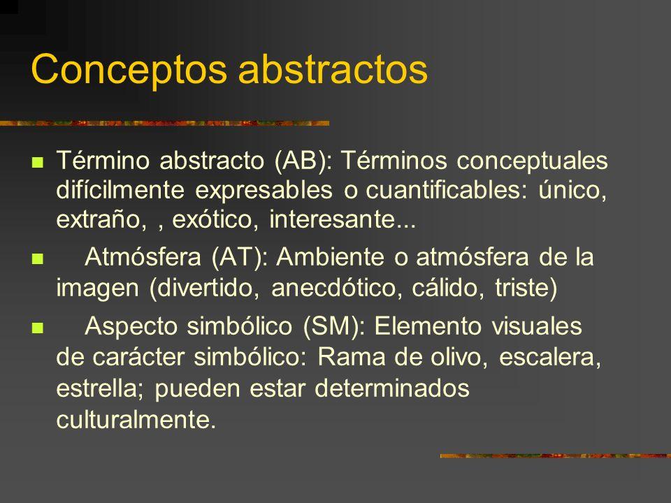 Conceptos abstractos Término abstracto (AB): Términos conceptuales difícilmente expresables o cuantificables: único, extraño,, exótico, interesante...