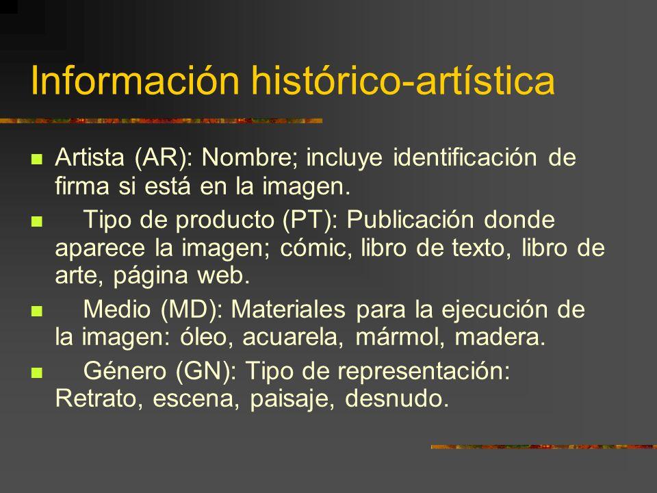 Información histórico-artística Artista (AR): Nombre; incluye identificación de firma si está en la imagen.