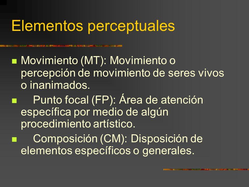 Elementos perceptuales Movimiento (MT): Movimiento o percepción de movimiento de seres vivos o inanimados.