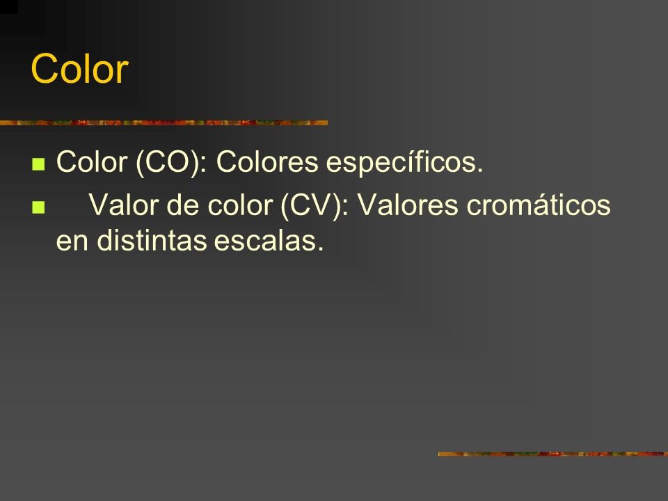Color Color (CO): Colores específicos.
