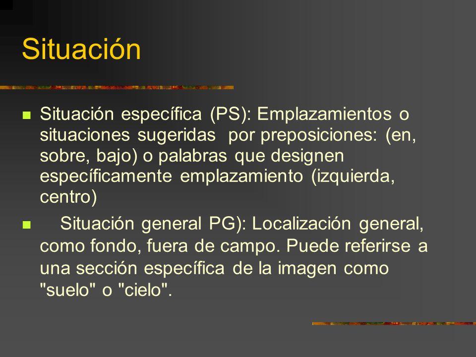 Situación Situación específica (PS): Emplazamientos o situaciones sugeridas por preposiciones: (en, sobre, bajo) o palabras que designen específicamente emplazamiento (izquierda, centro) Situación general PG): Localización general, como fondo, fuera de campo.