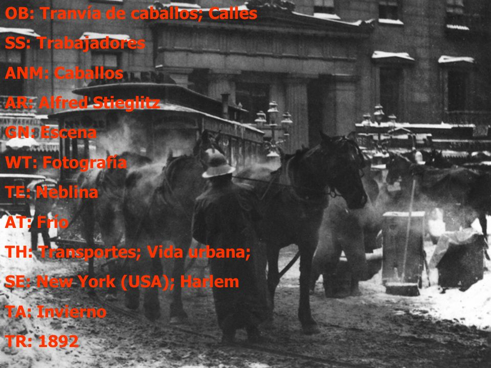 OB: Tranvía de caballos; Calles SS: Trabajadores ANM: Caballos AR: Alfred Stieglitz GN: Escena WT: Fotografía TE: Neblina AT: Frío TH: Transportes; Vida urbana; SE: New York (USA); Harlem TA: Invierno TR: 1892