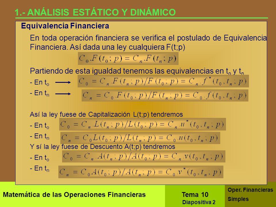 Tema 10.- Operaciones Financieras Simples Matemática de las Operaciones Financieras Análisis estático y dinámico. Operaciones a corto y largo plazo. V