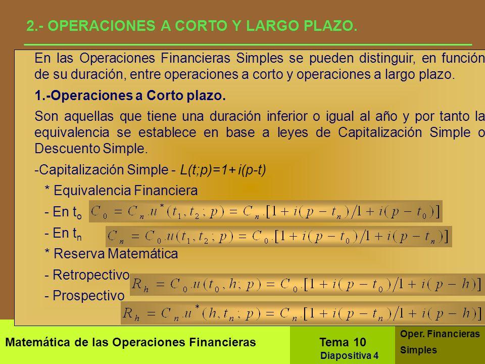 Matemática de las Operaciones Financieras Tema 10 Oper. Financieras Simples Diapositiva 2 1.- ANÁLISIS ESTÁTICO Y DINÁMICO Equivalencia Financiera En