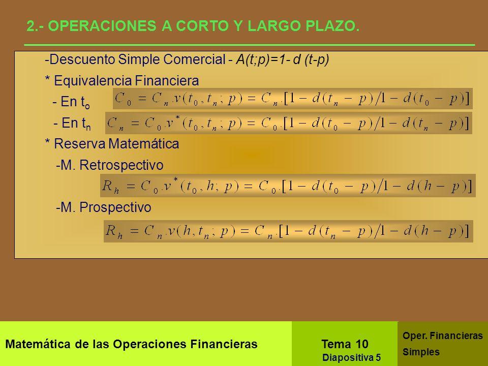 Matemática de las Operaciones Financieras Tema 10 Oper. Financieras Simples Diapositiva 3 1.- ANÁLISIS ESTÁTICO Y DINÁMICO Reserva Matemática Es la cu