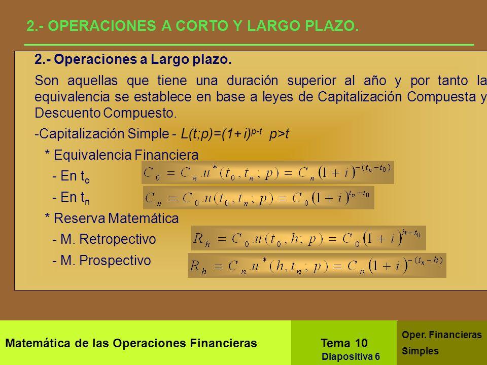 Matemática de las Operaciones Financieras Tema 10 Oper. Financieras Simples Diapositiva 4 2.- OPERACIONES A CORTO Y LARGO PLAZO. En las Operaciones Fi