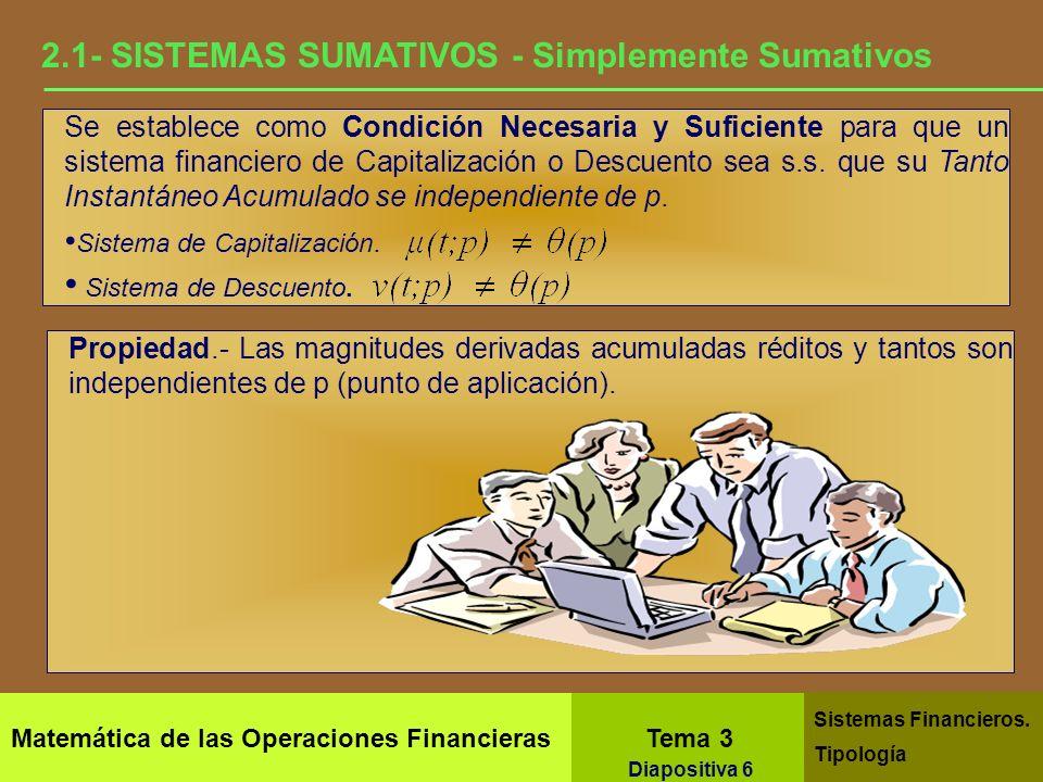 Matemática de las Operaciones Financieras Tema 3 Sistemas Financieros. Tipología Diapositiva 4 2.- SISTEMAS SUMATIVOS Son aquellos sistemas en los que