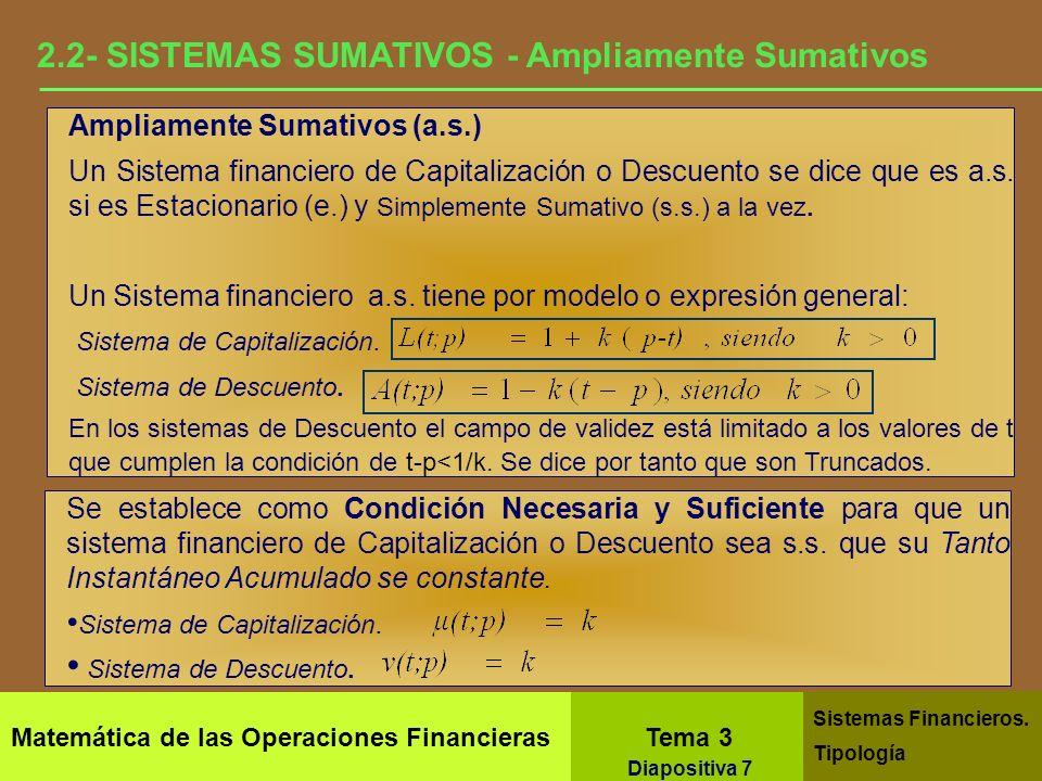 Matemática de las Operaciones Financieras Tema 3 Sistemas Financieros. Tipología Diapositiva 5 2.1- SISTEMAS SUMATIVOS- Simplemente Sumativos Simpleme