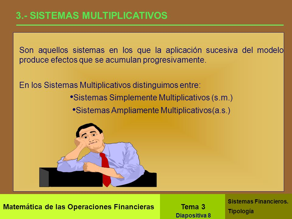 Matemática de las Operaciones Financieras Tema 3 Sistemas Financieros. Tipología Diapositiva 6 2.1- SISTEMAS SUMATIVOS - Simplemente Sumativos Se esta