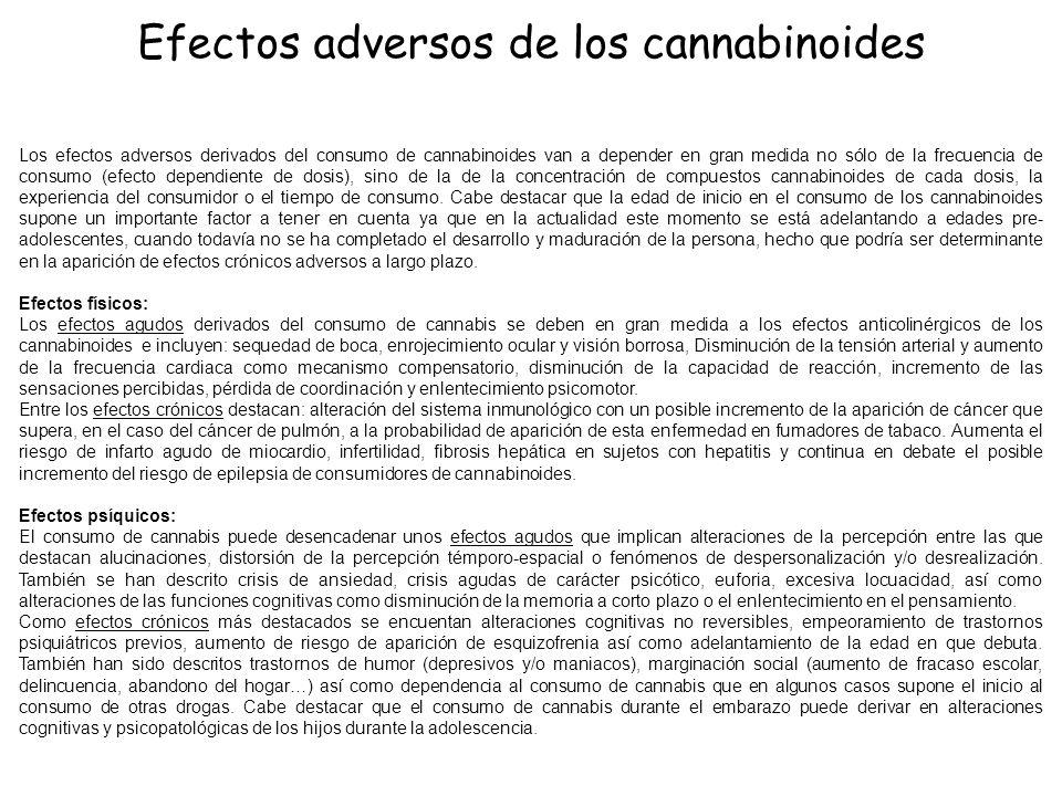 Los efectos adversos derivados del consumo de cannabinoides van a depender en gran medida no sólo de la frecuencia de consumo (efecto dependiente de d