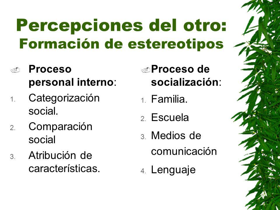 Percepciones del otro: Formación de estereotipos Proceso personal interno: 1. Categorización social. 2. Comparación social 3. Atribución de caracterís