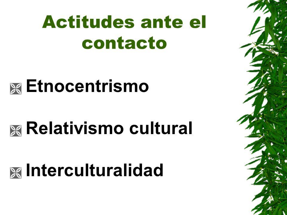 Actitudes ante el contacto Etnocentrismo Relativismo cultural Interculturalidad