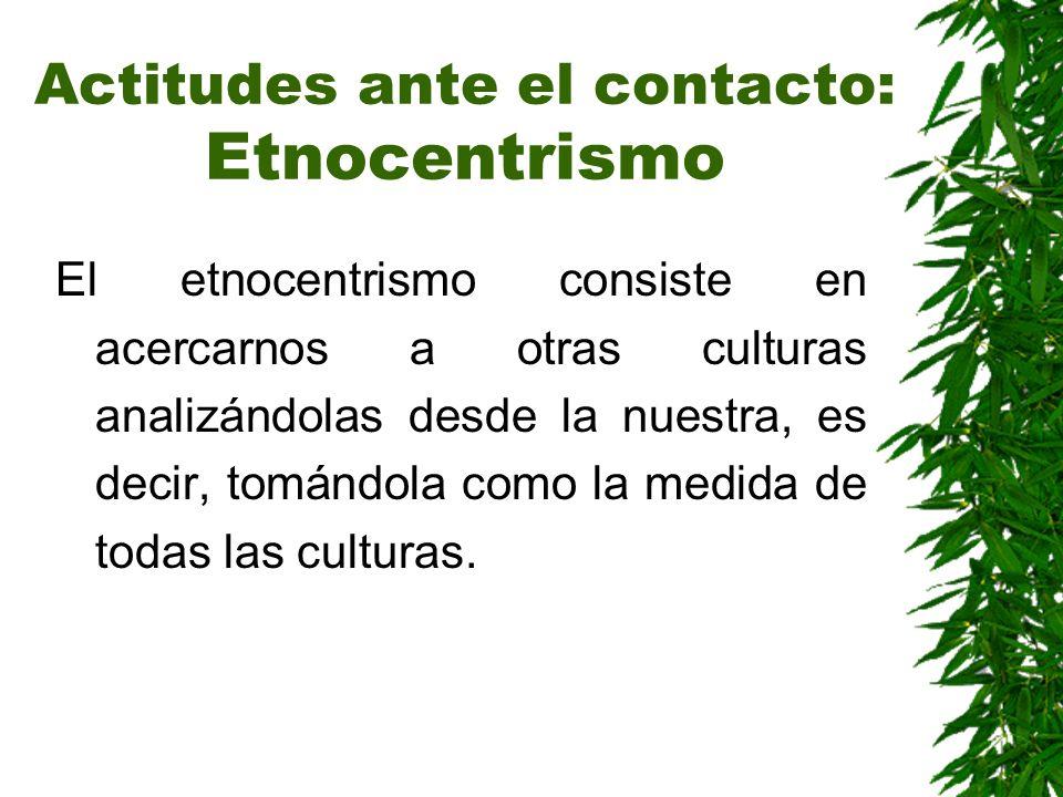 Actitudes ante el contacto: Etnocentrismo El etnocentrismo consiste en acercarnos a otras culturas analizándolas desde la nuestra, es decir, tomándola