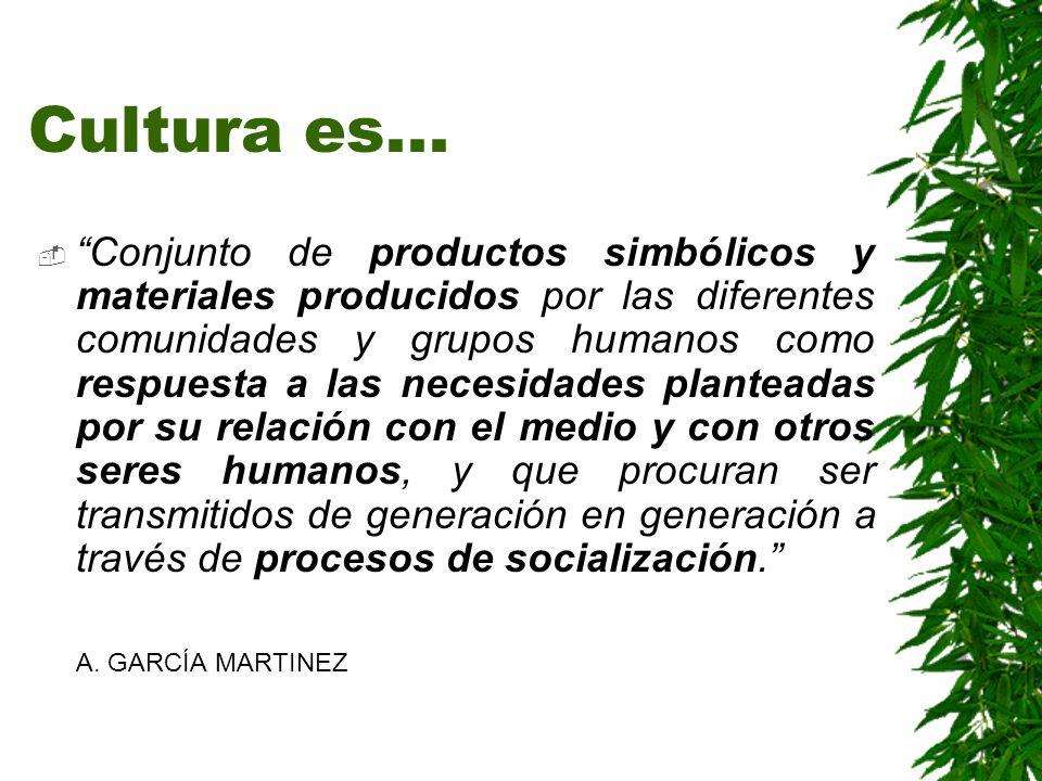 Cultura es... Conjunto de productos simbólicos y materiales producidos por las diferentes comunidades y grupos humanos como respuesta a las necesidade