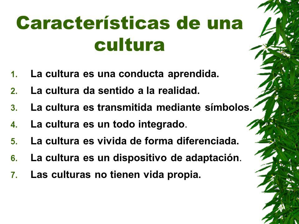 Características de una cultura 1. La cultura es una conducta aprendida. 2. La cultura da sentido a la realidad. 3. La cultura es transmitida mediante