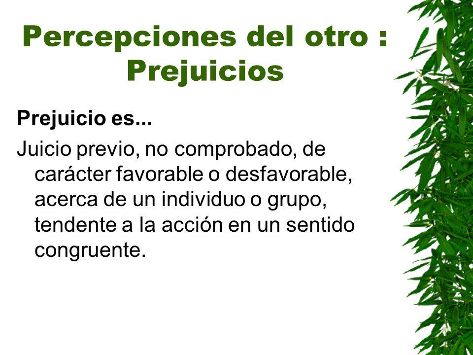 Percepciones del otro : Prejuicios Prejuicio es... Juicio previo, no comprobado, de carácter favorable o desfavorable, acerca de un individuo o grupo,