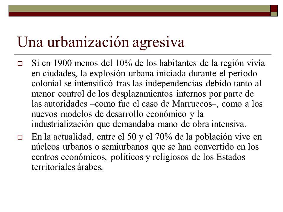 Una urbanización agresiva Si en 1900 menos del 10% de los habitantes de la región vivía en ciudades, la explosión urbana iniciada durante el período c