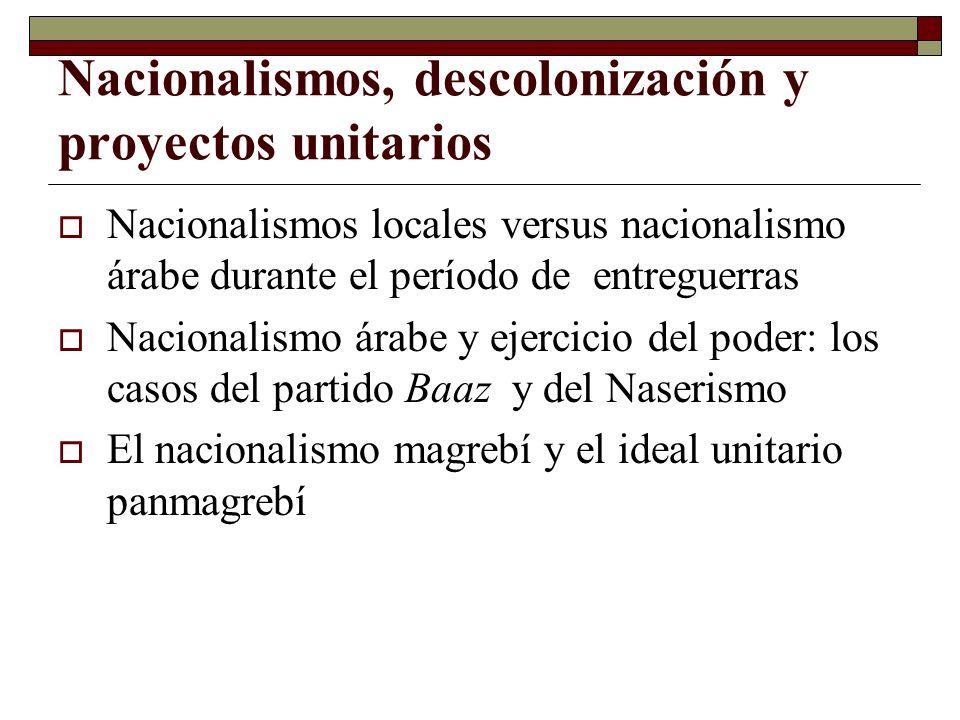 Nacionalismos, descolonización y proyectos unitarios Nacionalismos locales versus nacionalismo árabe durante el período de entreguerras Nacionalismo á