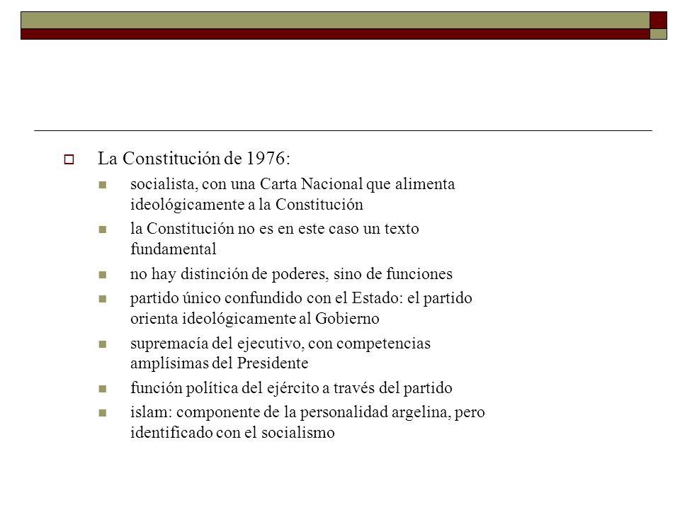 La Constitución de 1976: socialista, con una Carta Nacional que alimenta ideológicamente a la Constitución la Constitución no es en este caso un texto