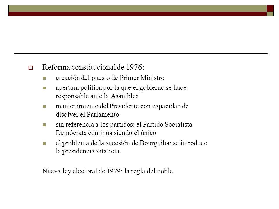 Reforma constitucional de 1976: creación del puesto de Primer Ministro apertura política por la que el gobierno se hace responsable ante la Asamblea m