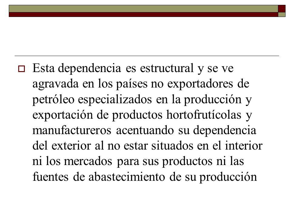 Esta dependencia es estructural y se ve agravada en los países no exportadores de petróleo especializados en la producción y exportación de productos