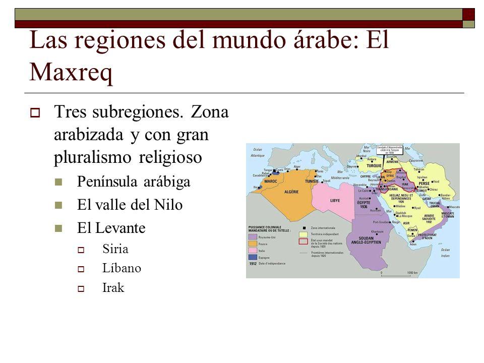 Las regiones del mundo árabe: El Maxreq Tres subregiones. Zona arabizada y con gran pluralismo religioso Península arábiga El valle del Nilo El Levant