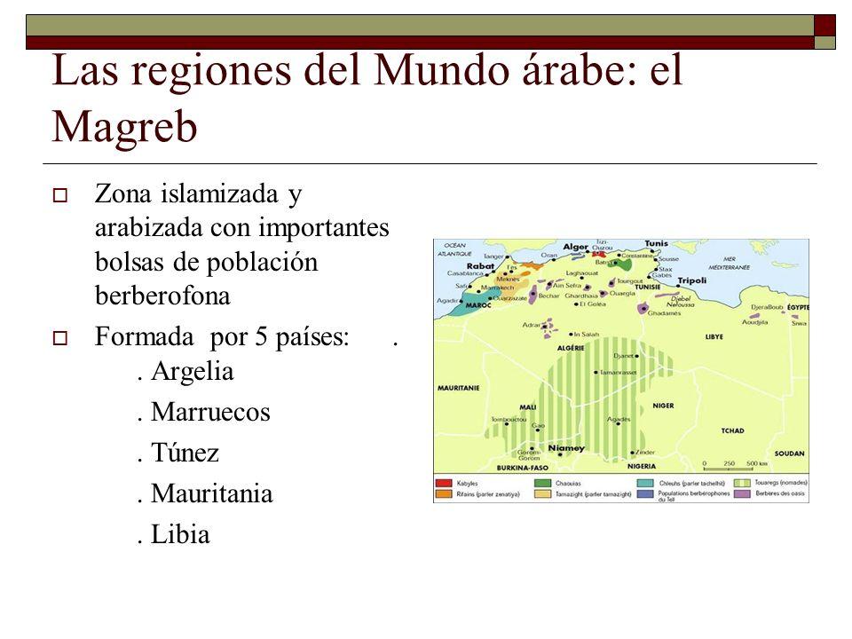 Las regiones del Mundo árabe: el Magreb Zona islamizada y arabizada con importantes bolsas de población berberofona Formada por 5 países:.. Argelia. M