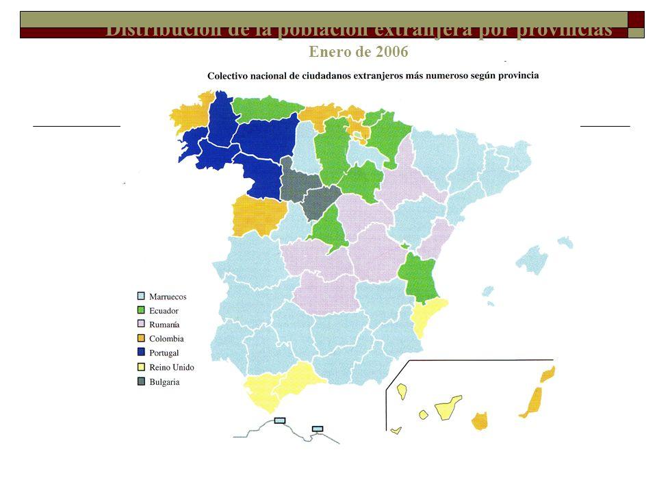 Distribución de la población extranjera por provincias Enero de 2006