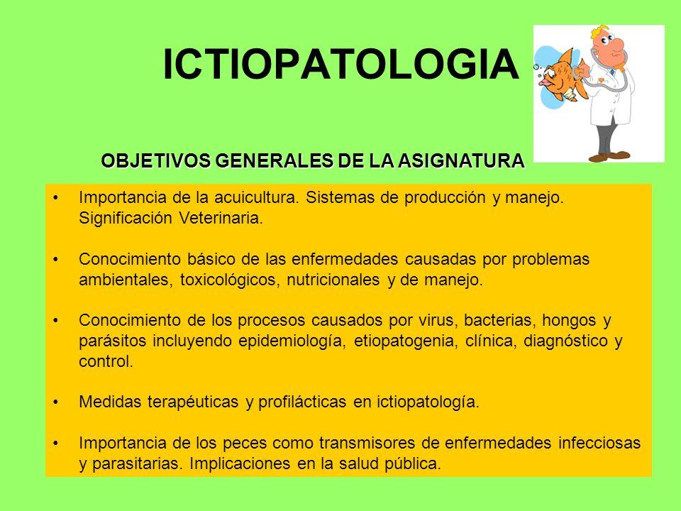 ICTIOPATOLOGIA Importancia de la acuicultura. Sistemas de producción y manejo. Significación Veterinaria. Conocimiento básico de las enfermedades caus