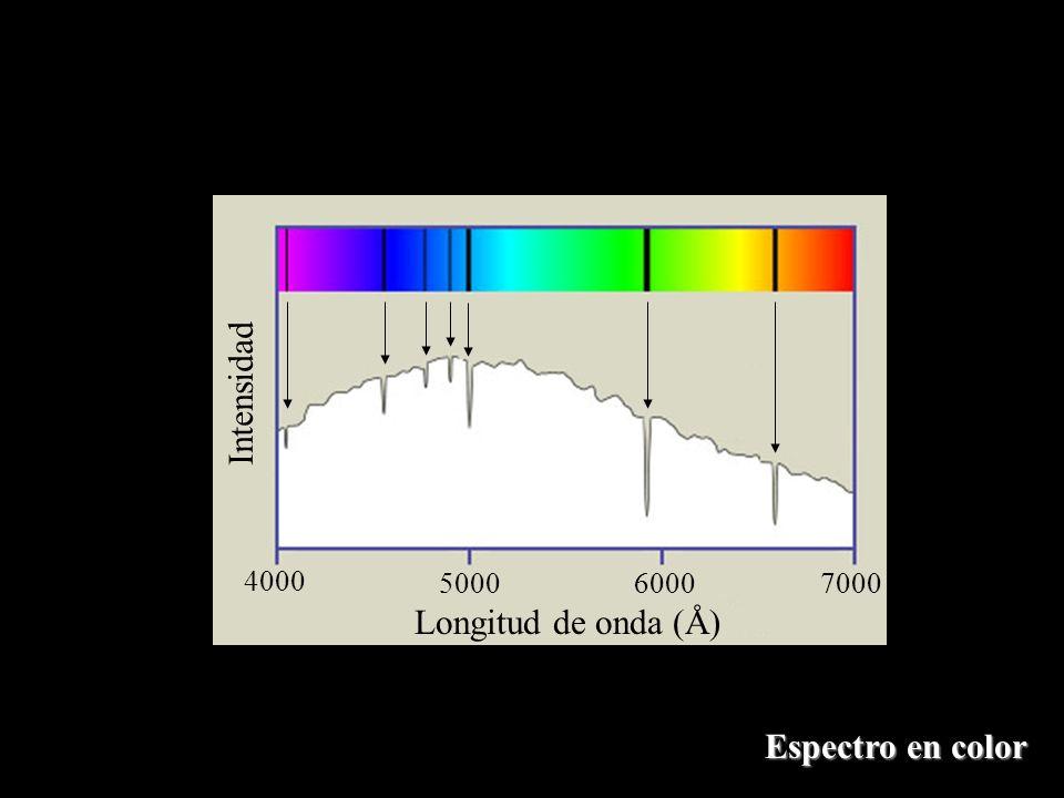 Espectro en color Longitud de onda (Å) Intensidad 4000 500060007000