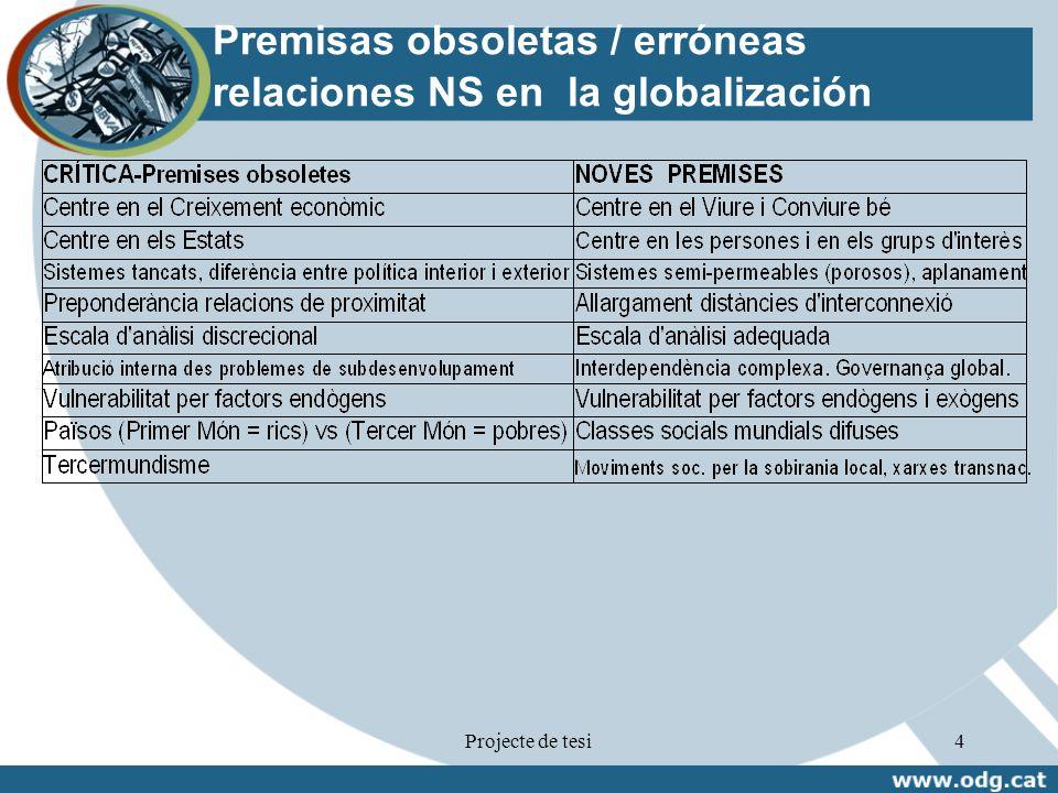 Projecte de tesi4 Premisas obsoletas / erróneas relaciones NS en la globalización Font: ODG, 2008