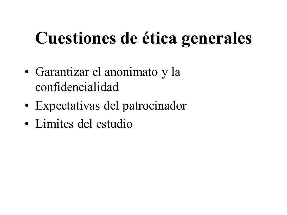 Cuestiones de ética generales Garantizar el anonimato y la confidencialidad Expectativas del patrocinador Limites del estudio