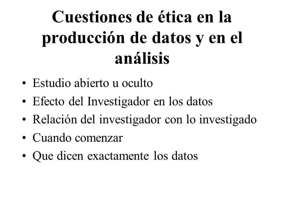Cuestiones de ética en la producción de datos y en el análisis Estudio abierto u oculto Efecto del Investigador en los datos Relación del investigador