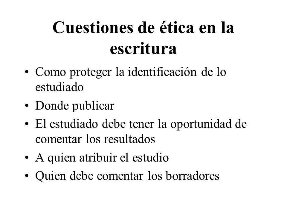 Cuestiones de ética en la escritura Como proteger la identificación de lo estudiado Donde publicar El estudiado debe tener la oportunidad de comentar