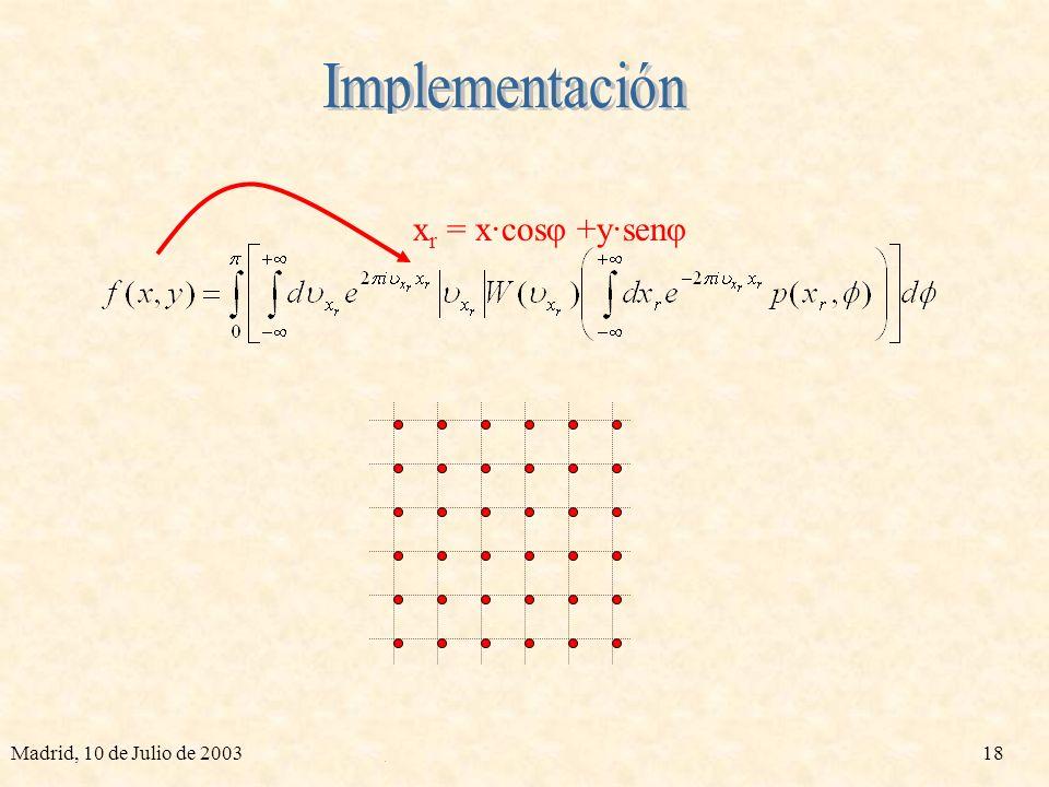 Madrid, 10 de Julio de 200317 p(x r,φ) xrxr xrxr p·cos