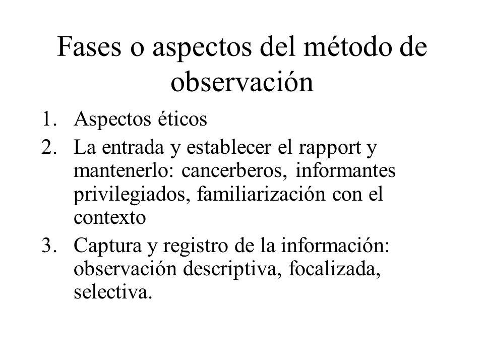 Fases o aspectos del método de observación 1.Aspectos éticos 2.La entrada y establecer el rapport y mantenerlo: cancerberos, informantes privilegiados