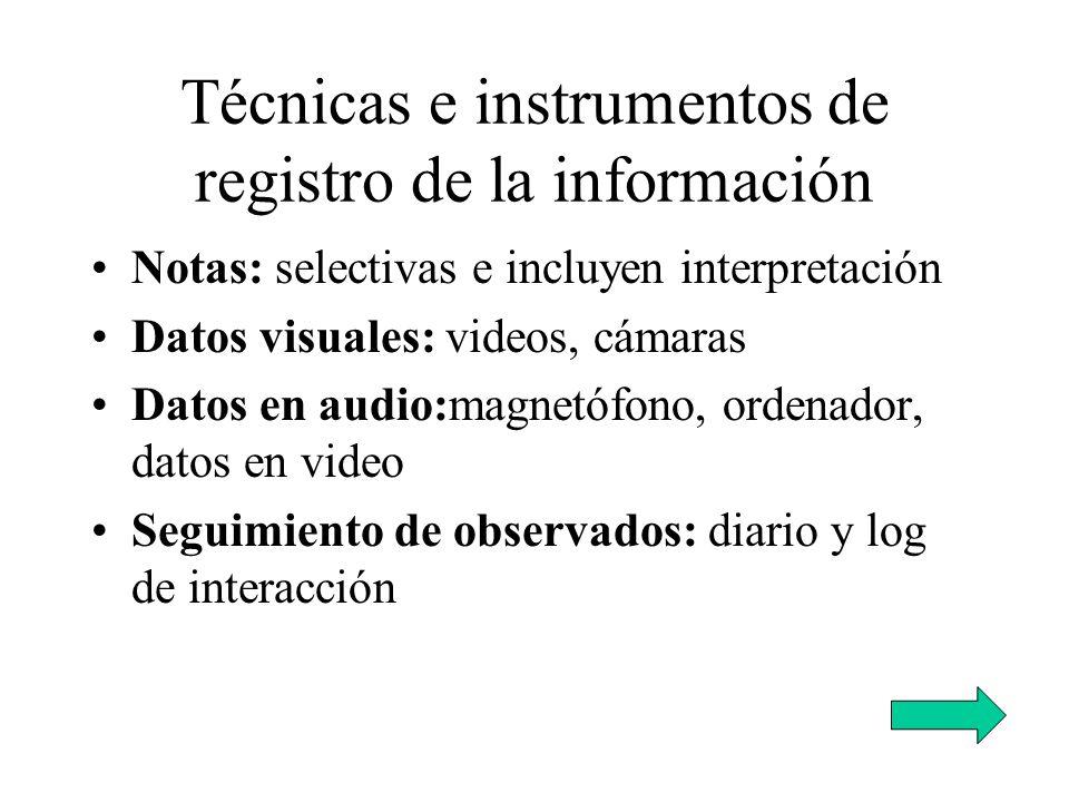 Técnicas e instrumentos de registro de la información Notas: selectivas e incluyen interpretación Datos visuales: videos, cámaras Datos en audio:magne