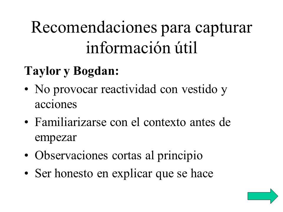 Recomendaciones para capturar información útil Taylor y Bogdan: No provocar reactividad con vestido y acciones Familiarizarse con el contexto antes de