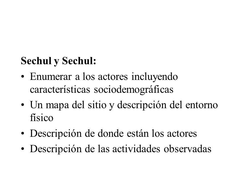 Sechul y Sechul: Enumerar a los actores incluyendo características sociodemográficas Un mapa del sitio y descripción del entorno físico Descripción de