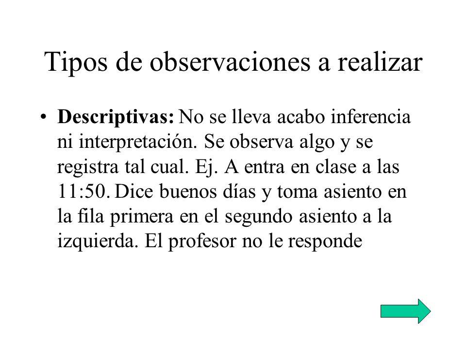 Tipos de observaciones a realizar Descriptivas: No se lleva acabo inferencia ni interpretación. Se observa algo y se registra tal cual. Ej. A entra en
