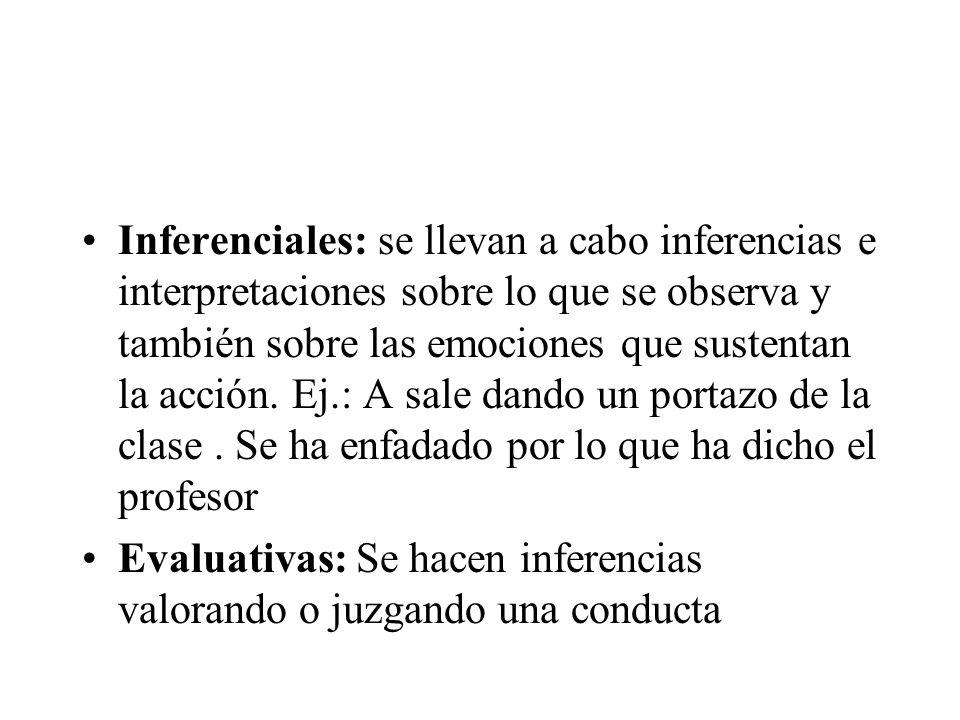 Inferenciales: se llevan a cabo inferencias e interpretaciones sobre lo que se observa y también sobre las emociones que sustentan la acción. Ej.: A s
