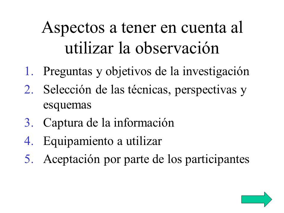 Aspectos a tener en cuenta al utilizar la observación 1.Preguntas y objetivos de la investigación 2.Selección de las técnicas, perspectivas y esquemas