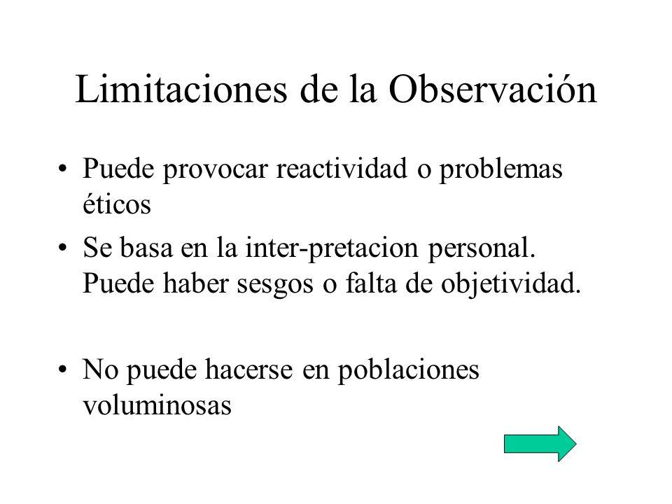 Limitaciones de la Observación Puede provocar reactividad o problemas éticos Se basa en la inter-pretacion personal. Puede haber sesgos o falta de obj