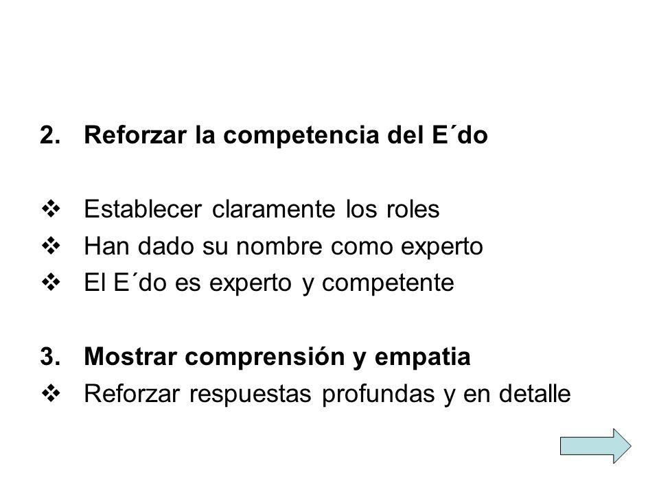 2.Reforzar la competencia del E´do Establecer claramente los roles Han dado su nombre como experto El E´do es experto y competente 3.Mostrar comprensi