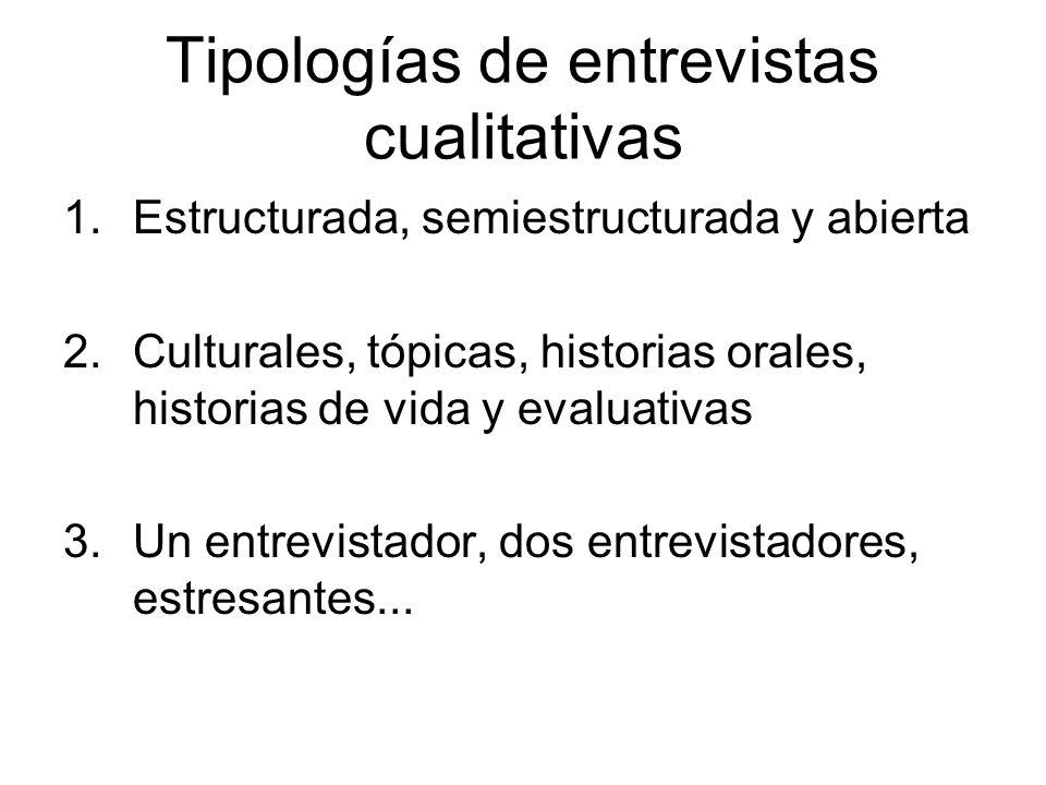 Tipologías de entrevistas cualitativas 1.Estructurada, semiestructurada y abierta 2.Culturales, tópicas, historias orales, historias de vida y evaluat