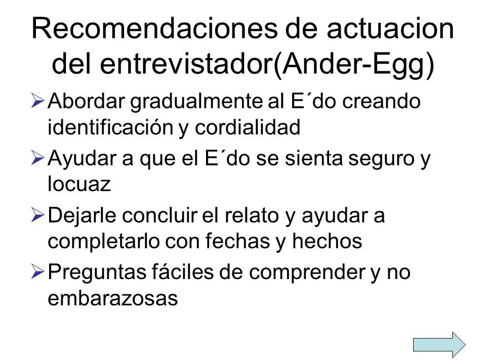 Recomendaciones de actuacion del entrevistador(Ander-Egg) Abordar gradualmente al E´do creando identificación y cordialidad Ayudar a que el E´do se si
