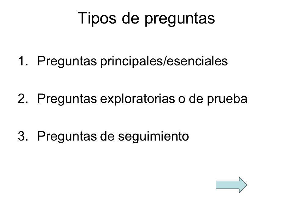 Tipos de preguntas 1.Preguntas principales/esenciales 2.Preguntas exploratorias o de prueba 3.Preguntas de seguimiento