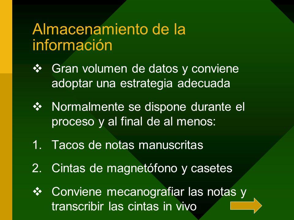 Almacenamiento de la información Gran volumen de datos y conviene adoptar una estrategia adecuada Normalmente se dispone durante el proceso y al final
