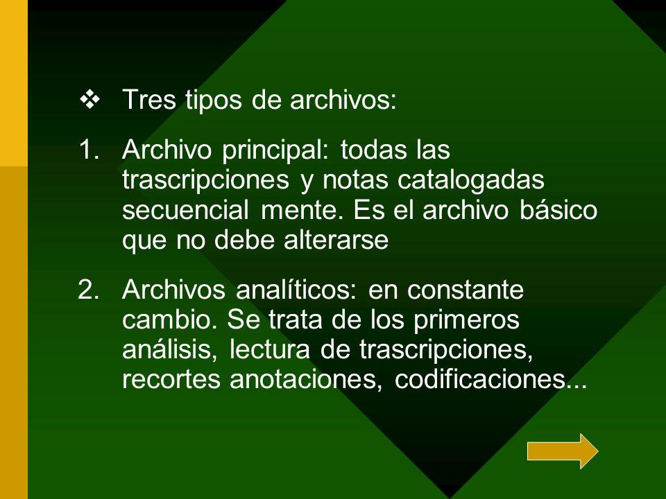 Tres tipos de archivos: 1.Archivo principal: todas las trascripciones y notas catalogadas secuencial mente. Es el archivo básico que no debe alterarse